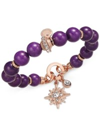 Charter Club Rose Gold Tone Semi Precious Round Purple Bead Crystal Enhanced Starburst Charm Stretch Bracelet Only At Macy's Rose Gold Tone