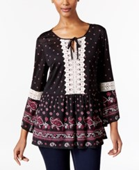 Styleandco. Style Co. Petite Crochet Trim Peplum Peasant Top Only At Macy's Paisley Medow
