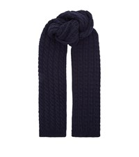Gieves And Hawkes Chunky Cable Knit Scarf Unisex Navy