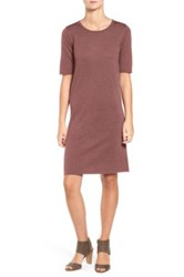 Eileen Fisher Crewneck Merino Jersey Sweater Dress Brown