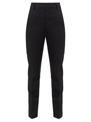 Saint Laurent High Rise Wool Twill Trousers Black