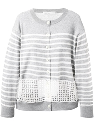 Sacai Luck Broderie Anglaise Band Striped Cardigan Grey
