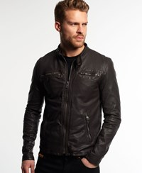 Superdry Real Hero Biker Leather Jacket Brown