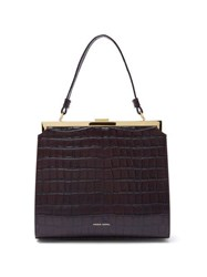 Mansur Gavriel Elegant Crocodile Embossed Leather Handbag Dark Brown