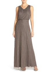 Women's Candela 'Antibes' Beaded V Neck Gown Grey
