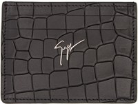 Giuseppe Zanotti Black Croc Embossed Card Holder