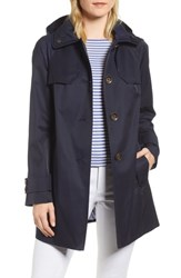 London Fog Removable Hood Rain Coat Navy