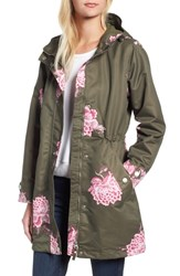 Joules Right As Rain Longline Print Coat Grape Leaf Chinoise Flower