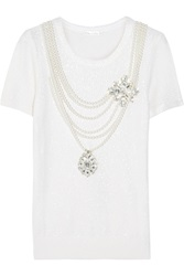 Oscar De La Renta Embellished Sequined Woven Top White