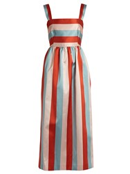 Red Valentino Striped Midi Dress Pink Multi