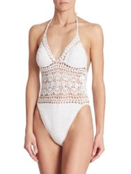 Anna Kosturova Swim Filigree Regular Fit Monokini White Turquoise