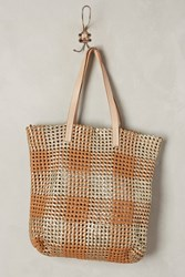 Anthropologie Woven Plaid Tote Brown