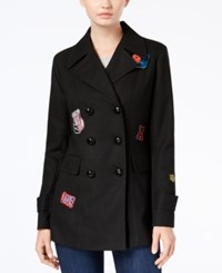 Amy Byer Bcx Juniors' Double Breasted Patched Peacoat Black