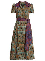 Duro Olowu Geometric Print Notch Lapel Dress Black Print