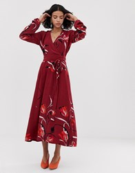 Gestuz Sille Midi Wrap Dress In Floral Red