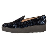 Unisa Caldo Sparkle Wedge Heeled Loafers Baltic