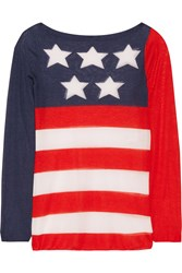Marc Jacobs Intarsia Cashmere And Silk Blend Sweater Red Blue