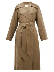 The Row Efo Leather Trench Coat Dark Tan