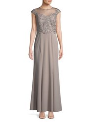 Cachet Illusion Neck Embellished Gown Dusk