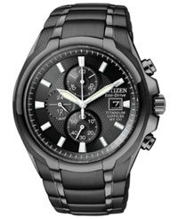 Citizen Men's Chronograph Eco Drive Black Titanium Carbide Ion Plated Bracelet Watch 42Mm Ca0265 59E