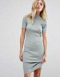 Noisy May Knit Ribbed Jumper Dress Blue Surf
