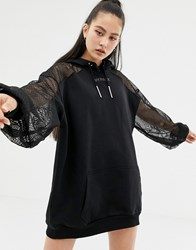 Ivy Park Lace Detail Hoodie Dress In Black