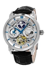 Stuhrling Men's Elite Anatol Skeleton Dual Time Alligator Embossed Watch Metallic