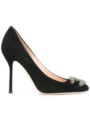 Gucci Embellished Square Toe Pumps Black