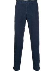 Fay Slim Fit Tapered Trousers Blue