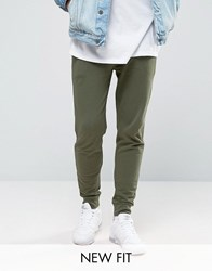 Asos Skinny Joggers In Khaki Washed Field Green