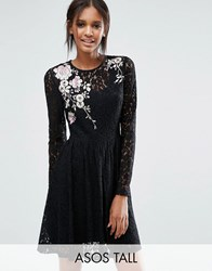 Asos Tall All Over Lace Mini Dress With Floral Embroidery Black