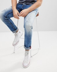 Solid Distressed Slim Fit Jeans Blue