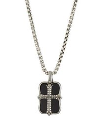 Stephen Webster Men's No Regrets Onyx And Diamond Cross Dog Tag Necklace Silver