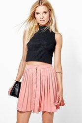 Boohoo Button Front Pleated Mini Skirt Spice
