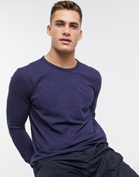 Selected Homme Organic Cotton Long Sleeve Pocket T Shirt In Navy