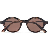 Bottega Veneta Round Frame Leather Trimmed Tortoiseshell Acetate Sunglasses Black
