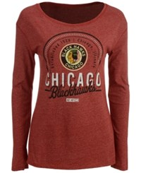 Ccm Women's Chicago Blackhawks Vintage Circle Long Sleeve T Shirt Red