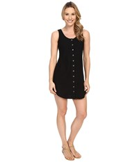 Mod O Doc Linen Rayon Button Front Tank Dress Black Women's Dress