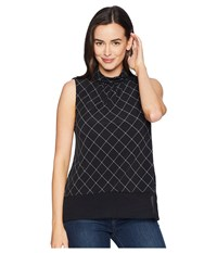 Ellen Tracy Mock Neck Shell Diamond Plaid Black Cream Clothing