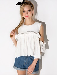 Pixie Market Mia Ruffled Cut Out Shoulder Top