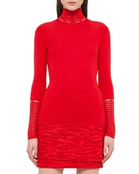 Akris Long Sleeve Slash Detail Turtleneck Red