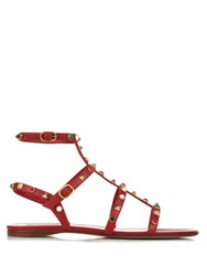 Valentino Rockstud Rolling Leather Sandals Red Multi