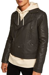 Topman Classic Fit Faux Leather Biker Jacket Black