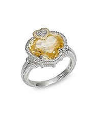 Judith Ripka Canary Crystal White Sapphire Sterling Silver And 18K Yellow Gold Heart Ring
