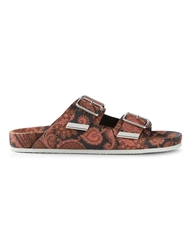Givenchy Paisley Flat Sandals Yellow And Orange