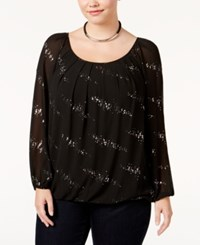 Ny Collection Plus Size Embellished Blouson Top Black Discodot