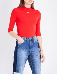 Moandco. Run Embroidered Stretch Knit Top