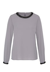 Hallhuber Gemstone Embellished Blouse Grey