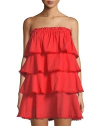 Red Carter Strapless Ruffle Tiered Dress