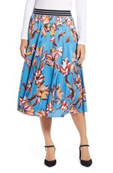 Halogen Printed Pleated Maxi Skirt Blue Vibrant Floral
